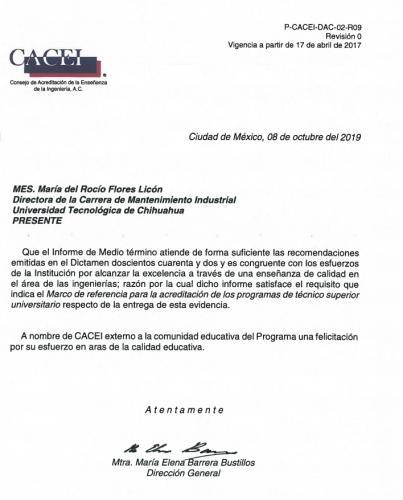 AFIRMA CACEI ACREDITACIÓN DE LAS CARRERAS DE MANTENIMIENTO