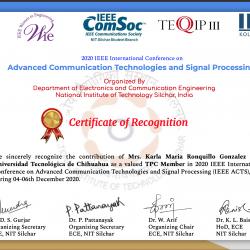 Recibe Reconocimiento Docente de la UTCH por parte del Instituto Nacional de Tecnología Silchar, India