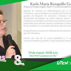 Cierra serie de entrevistas de radio a mujeres que trascienden por parte de la Universidad Tecnológica de Chihuahua