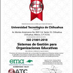 Logra la Universidad Tecnológica de Chihuahua la Certificación ISO 21001:2018